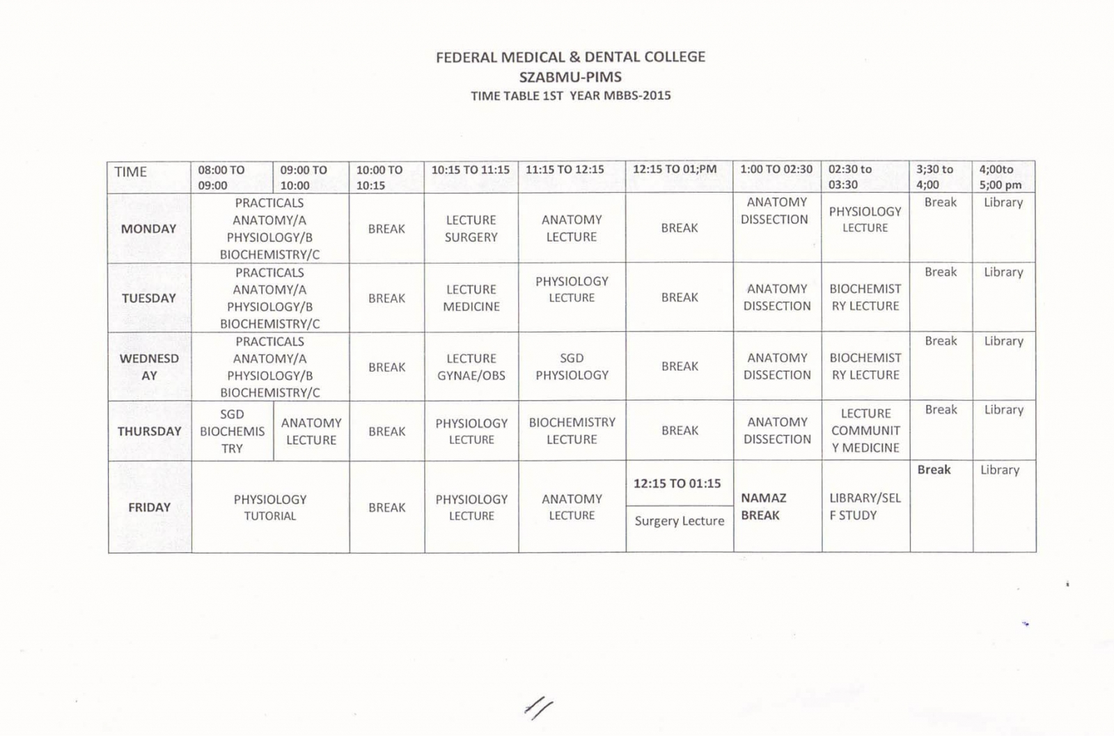 FM&DC Time Table 1st Year M B B S 2015 | Shaheed Zulfiqar