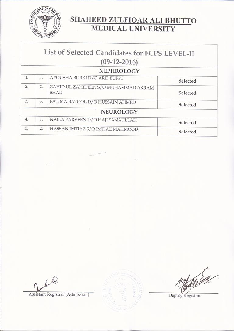 Result Notification - List of selected candidates for FCPS Level II