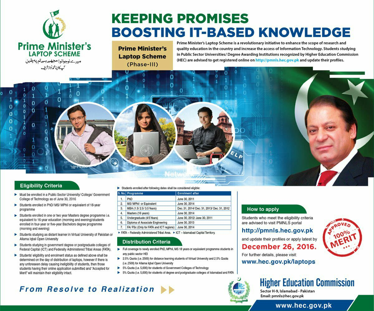 Prime Ministers Laptop Scheme Phase III