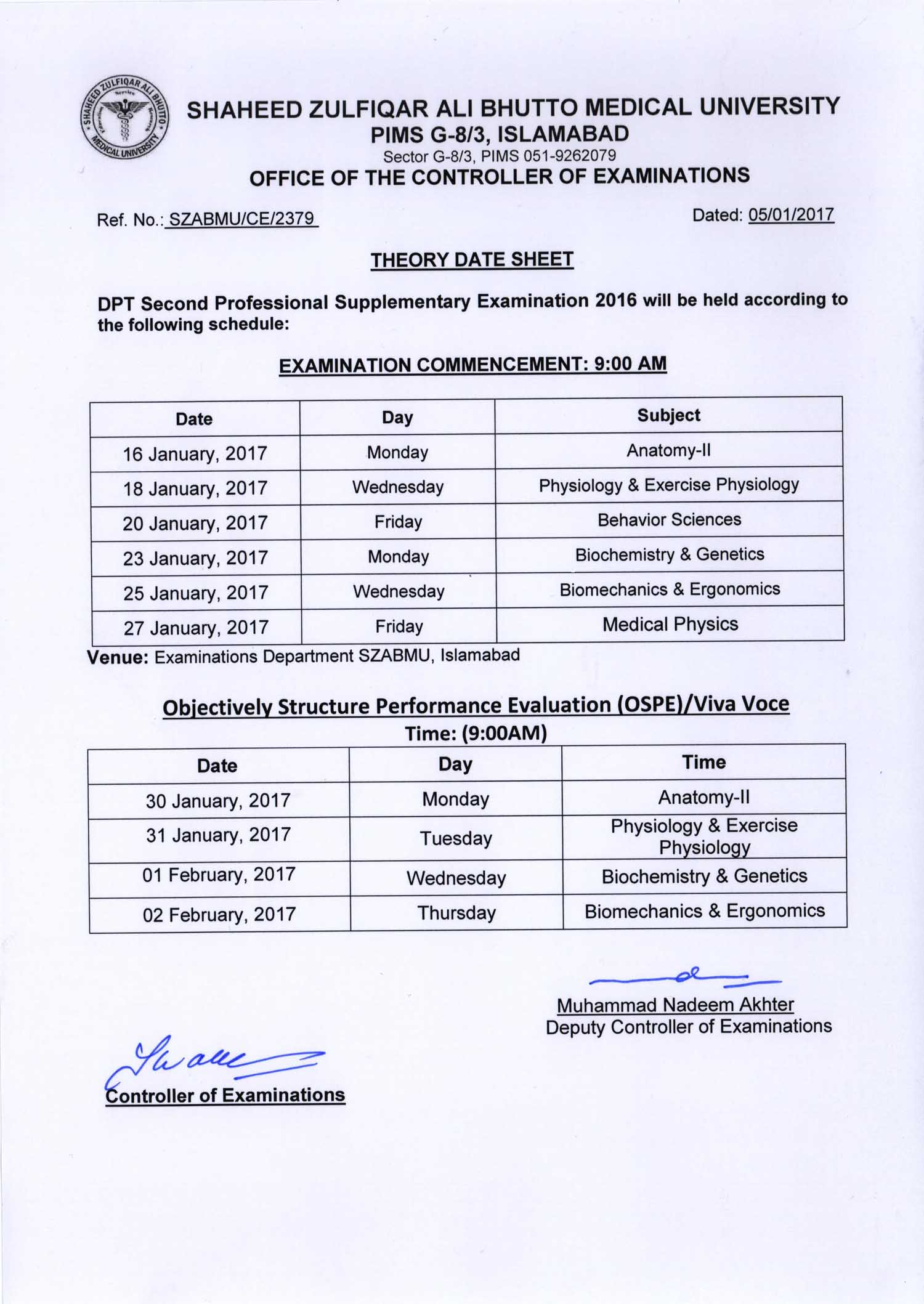 DPT 1st & 2nd Professional Supplementary Exams 2016