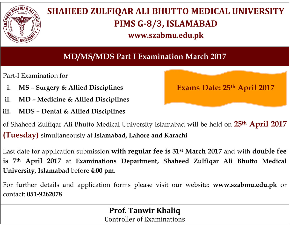 MD/MS/MDS Part I Examinations March 2017