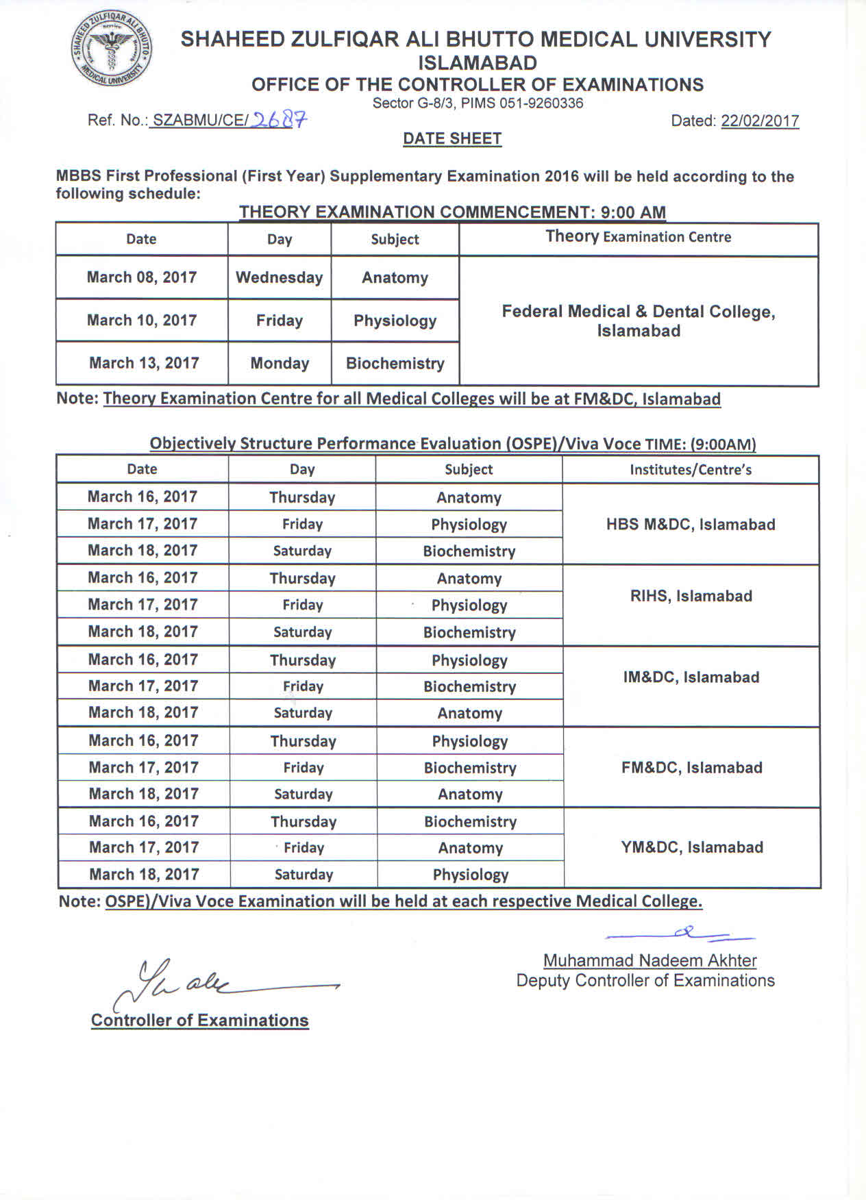 Date Sheet - MBBS 1st, 2nd and 3rd Professional Supplementary Exams 2016