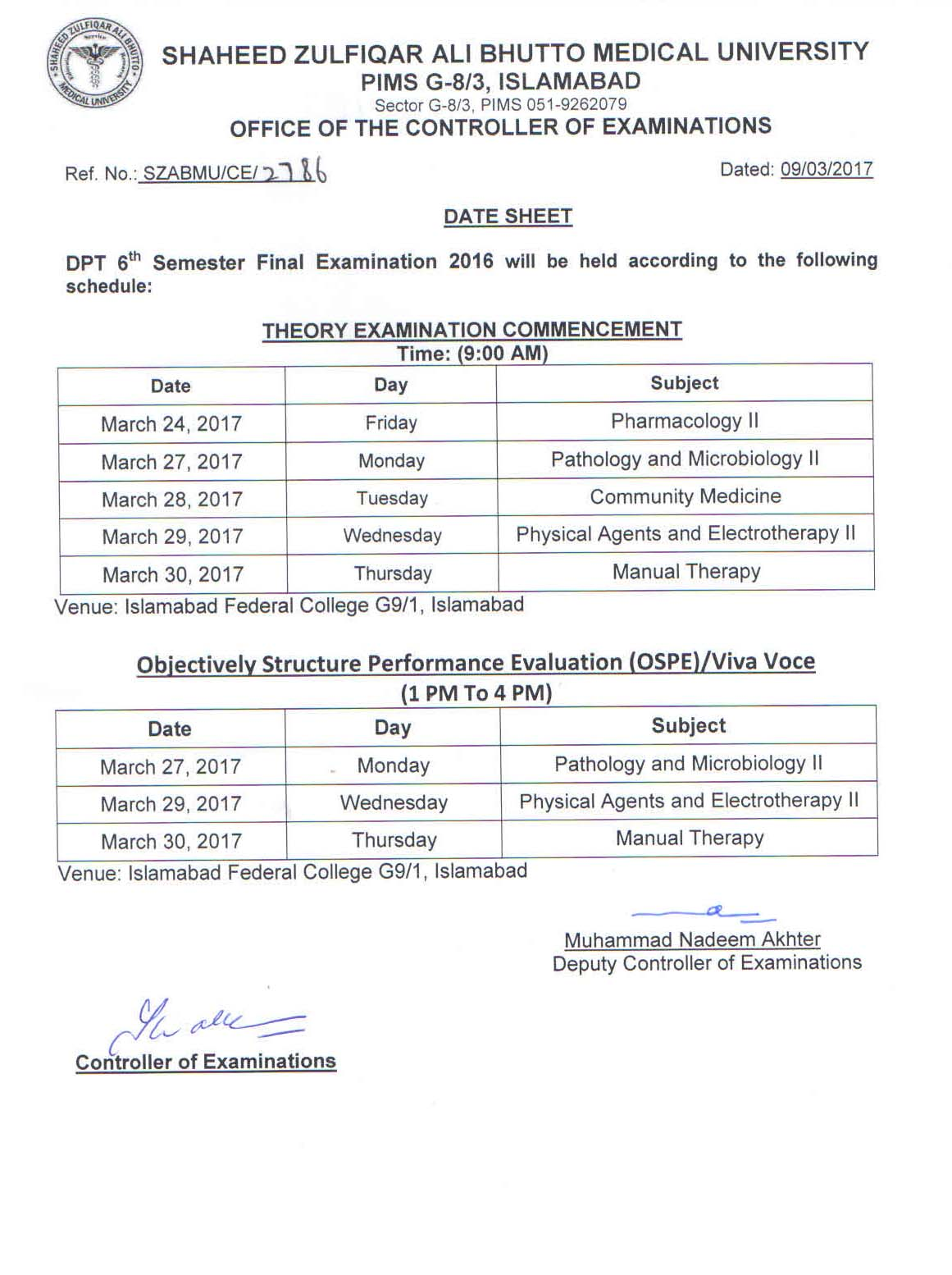 Date Sheet - DPT 4th and 6th Semester Final Exams 2016
