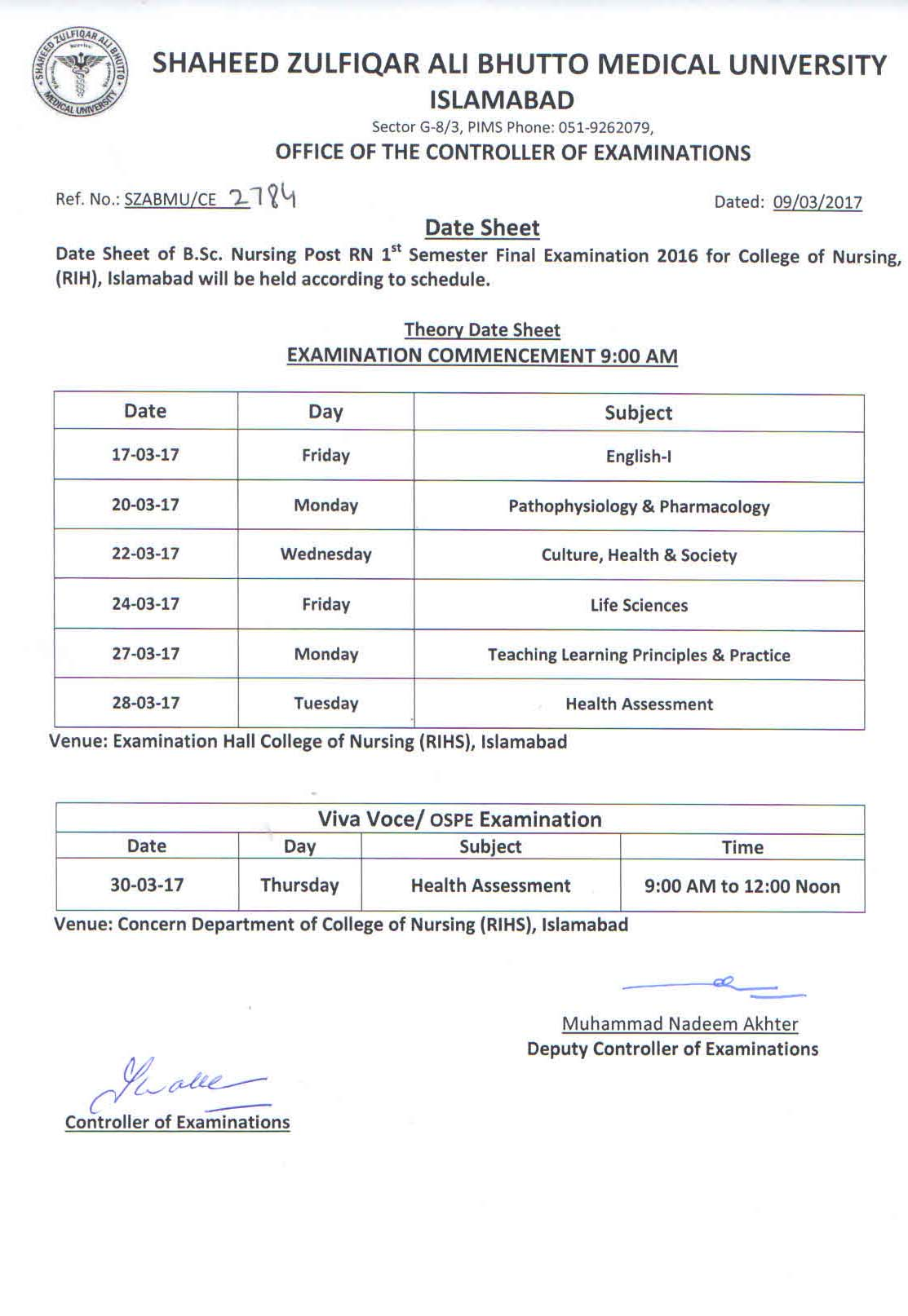 Date Sheet - B.Sc. Nursing Post RN 1st Semester Final Exams 2016