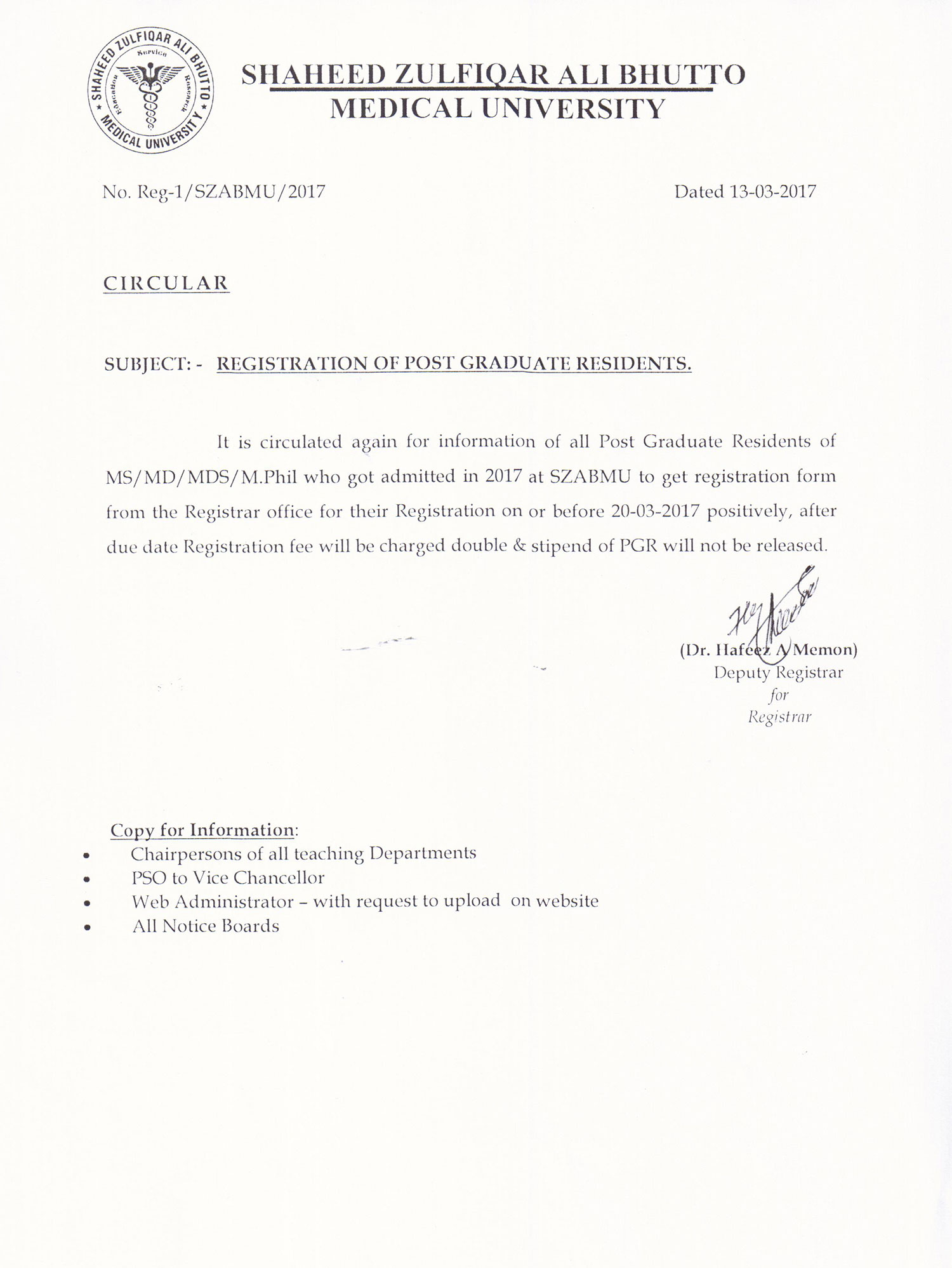 Date Extended for Registration of Post Graduate Residents who got admitted in 2017