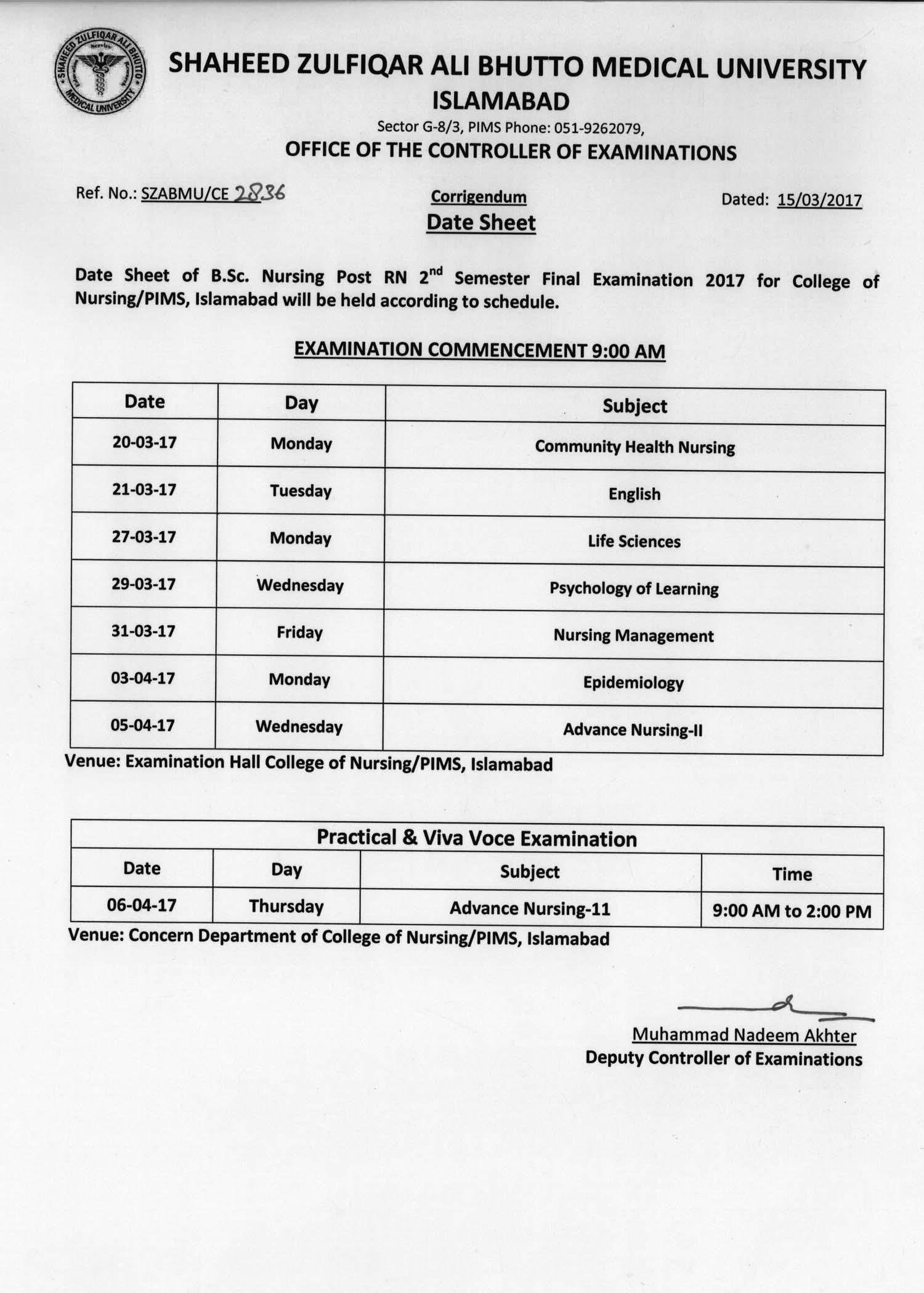 Date Sheet - B.Sc. Nursing Post RN 2nd & 4th Semester Final Exams 2016