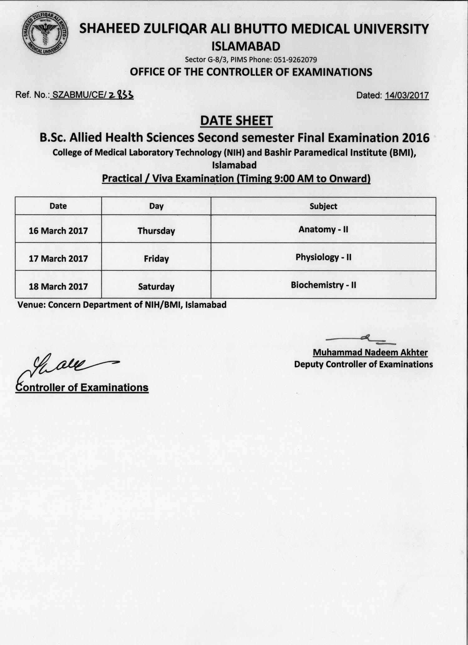 Date Sheet - B.Sc. Allied Health Sciences Final Exams 2016