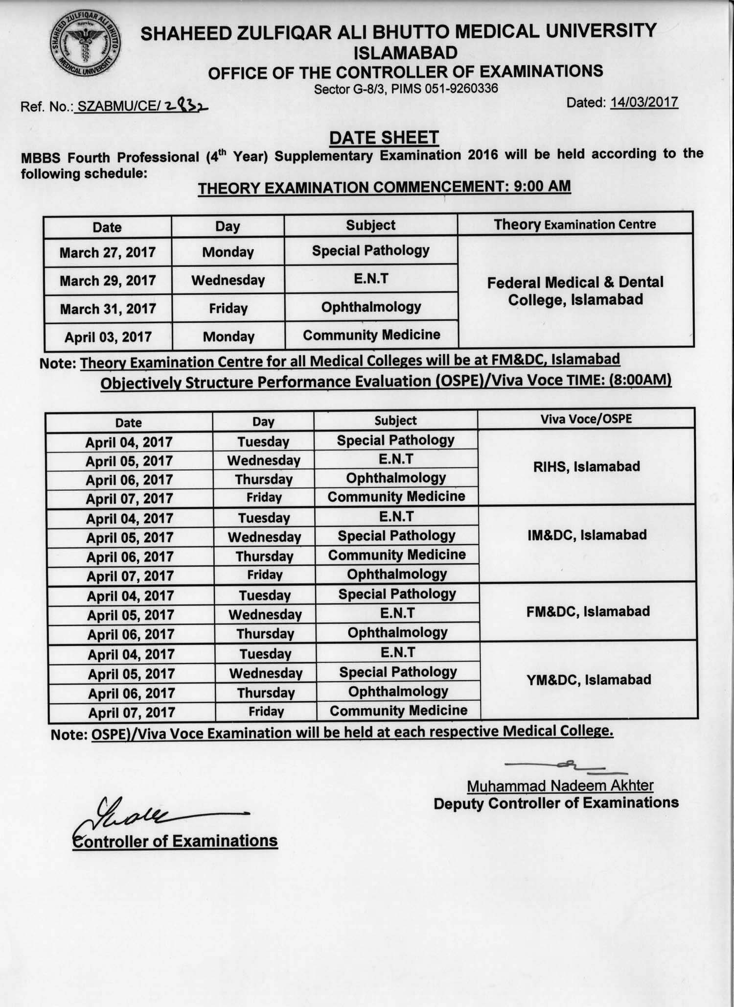 Date Sheet - MBBS 4th and Final Professional Supplementary Exams 2016