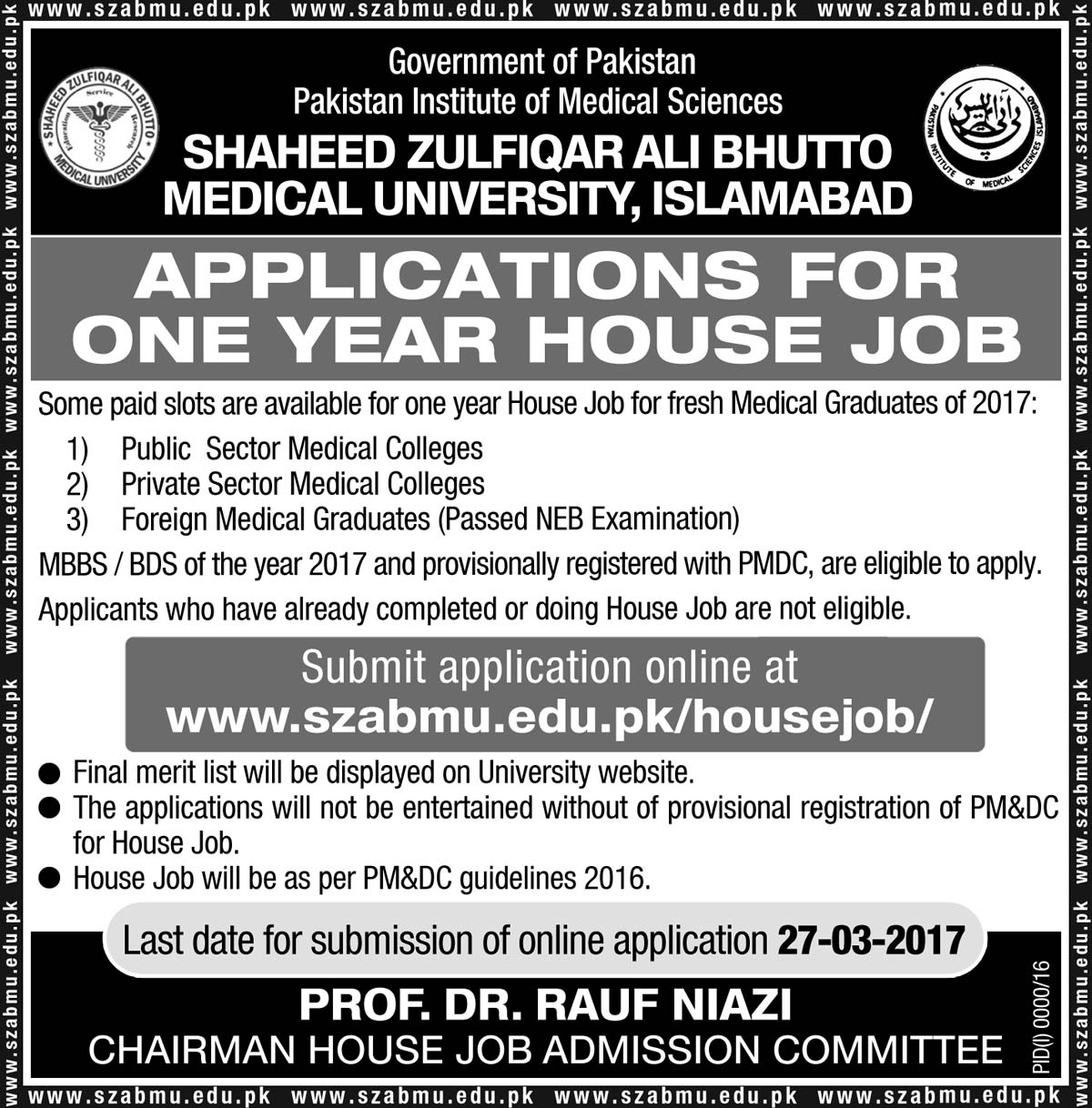 Application for one year House Job for fresh Medical Graduate of 2017