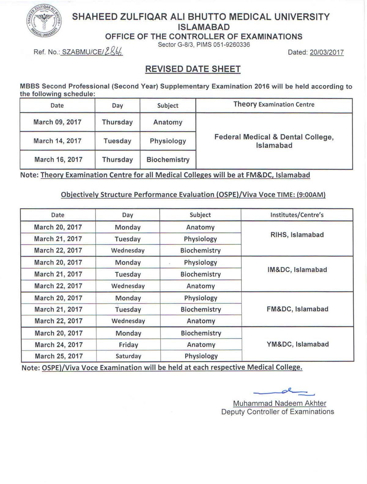 Revised Date Sheet - MBBS 2nd Professional Supplementary Exams 2016