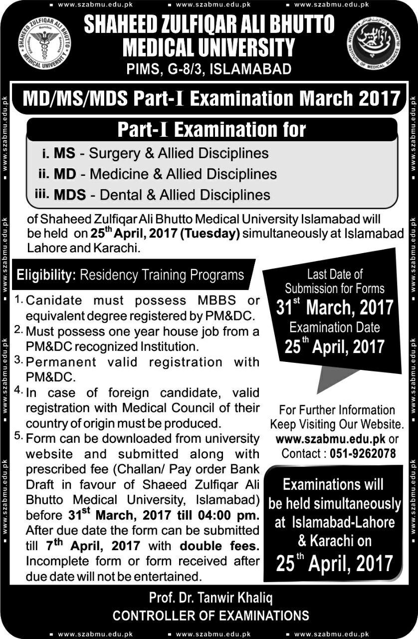 MD/MS/MDS Part I Examinations 2017