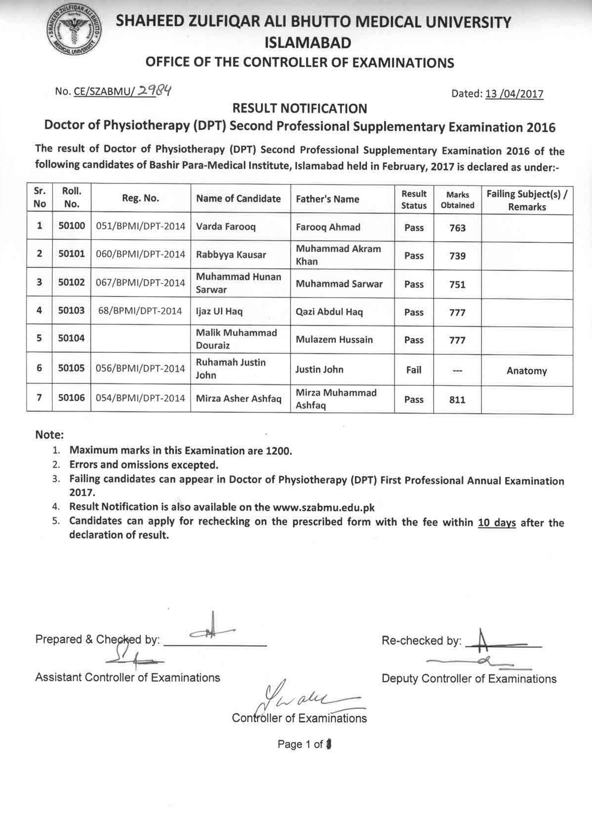 Result Notification - DPT 2nd Professional Supplementary Examination 2016