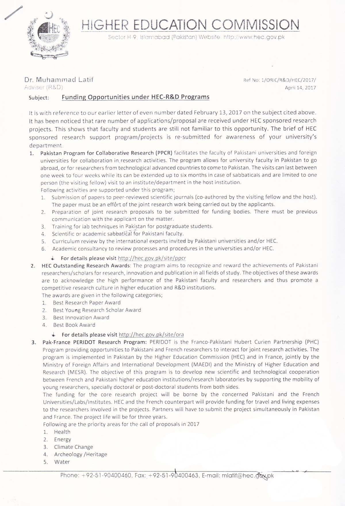 Funding opportunities under HEC - R&D programs