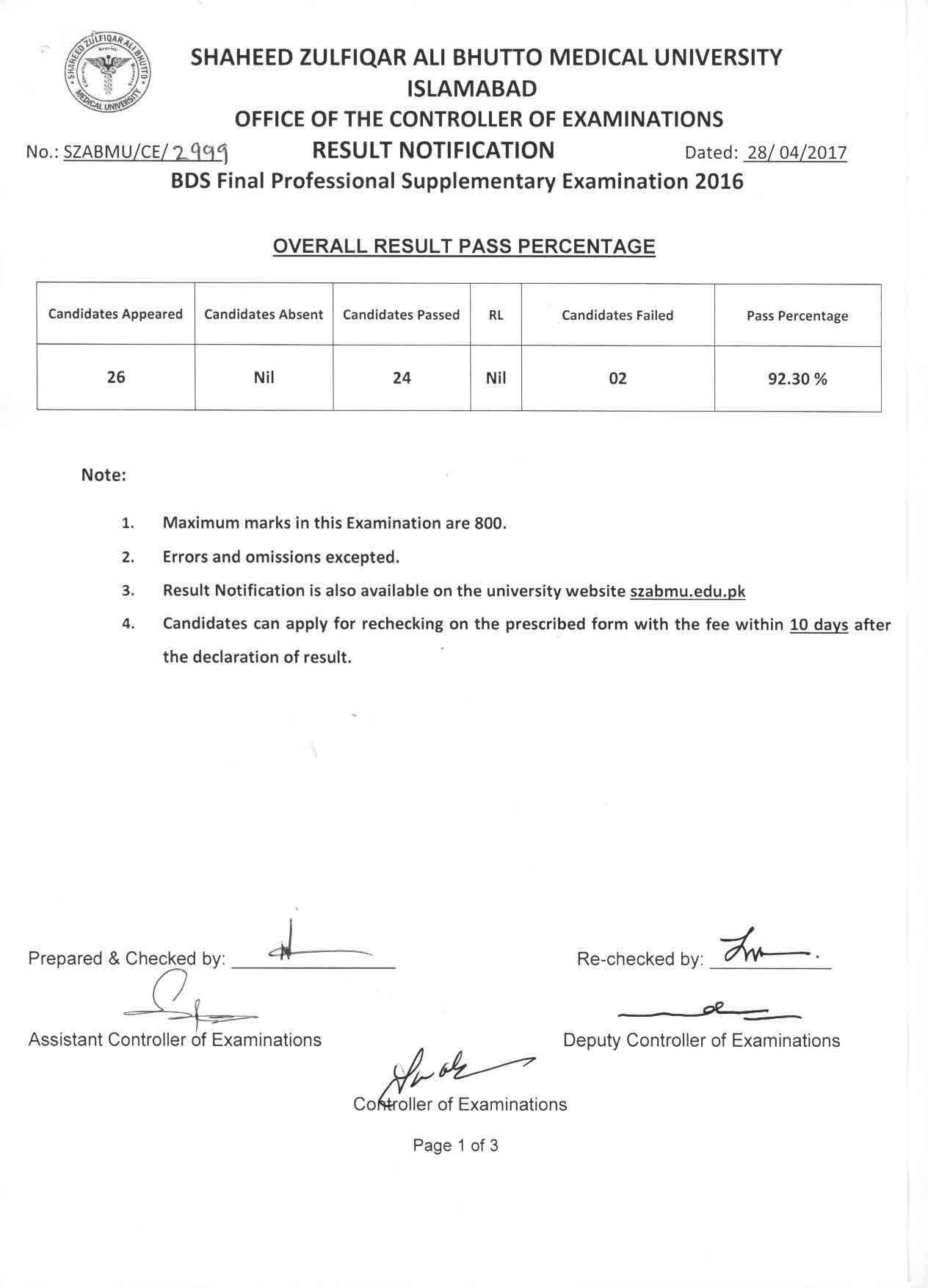 Result Notification - BDS Final Professional Supplementary Exams 2016