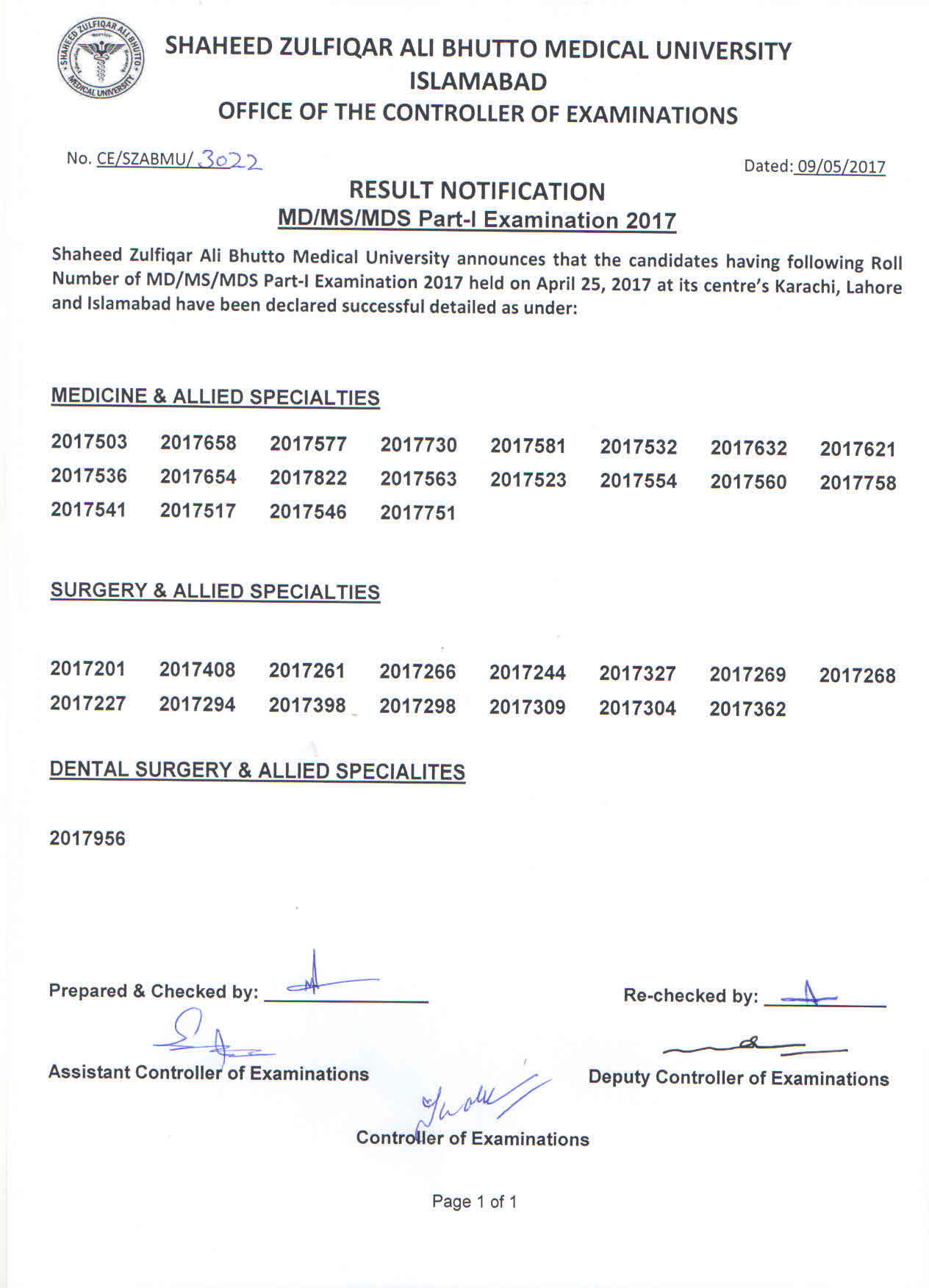 Result Notification - MS/MD/MDS Part 1 Examinations