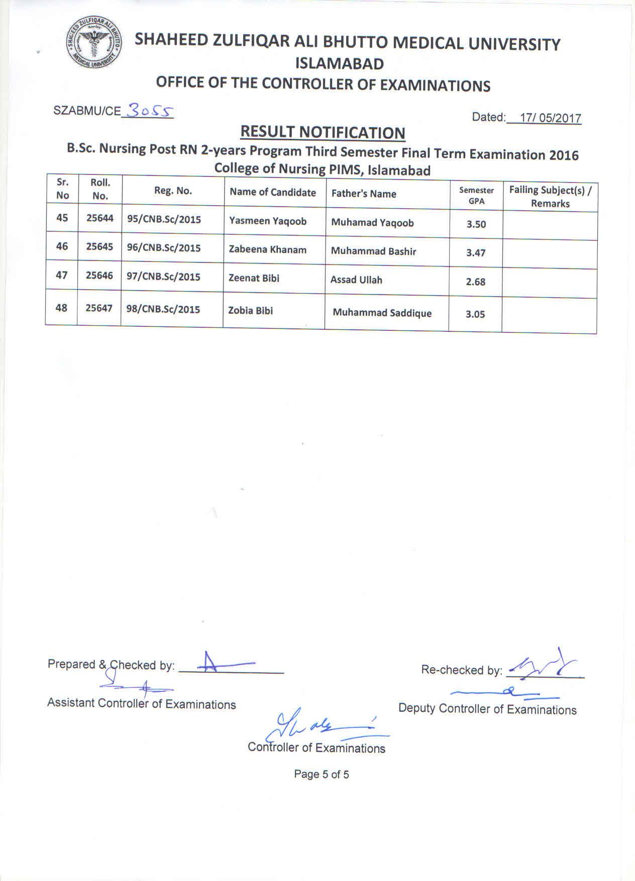 Result Notification - B.Sc. Nursing Post RN 3rd Semester Final Exams 2016