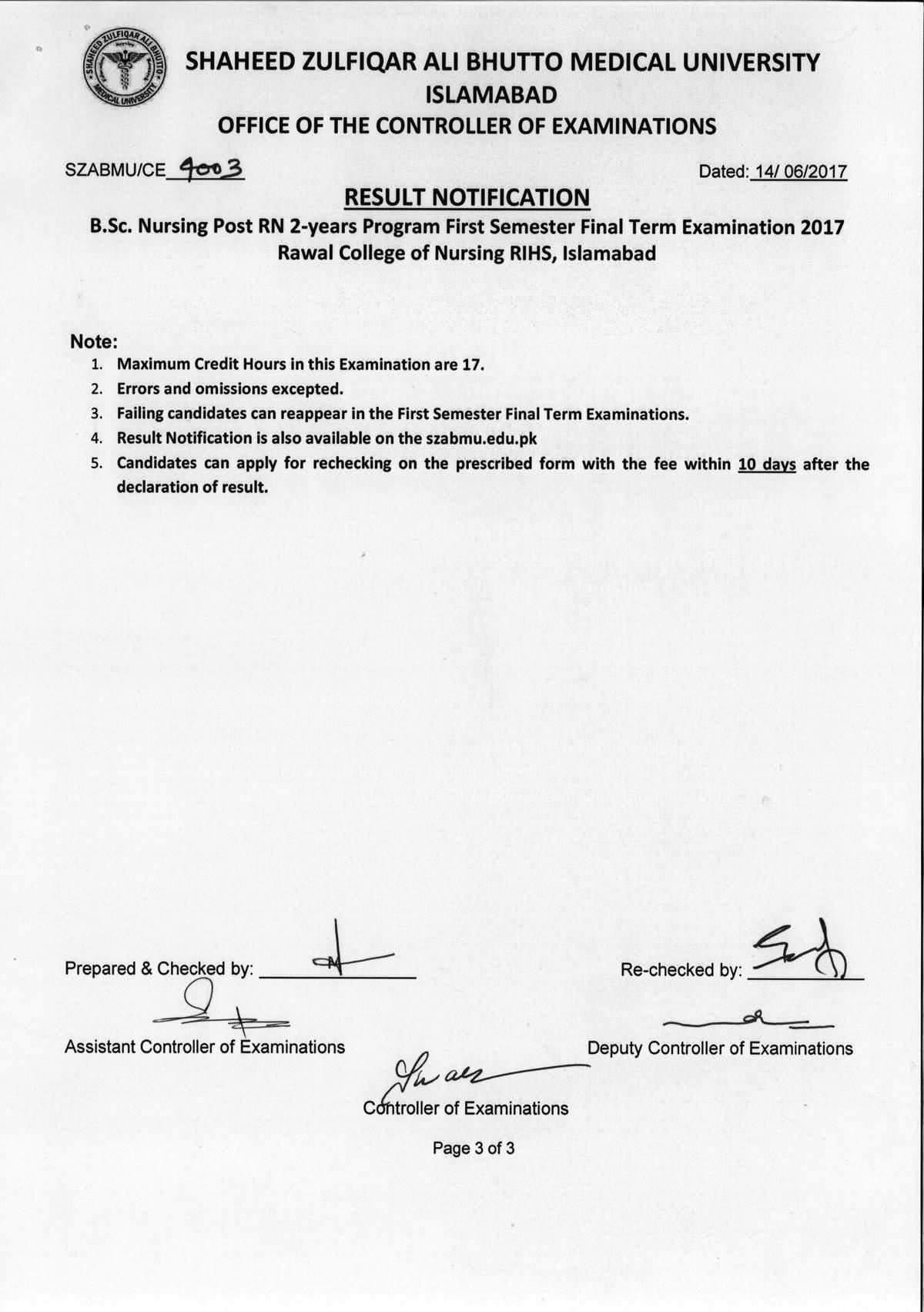 Result Notification - B.Sc. Nursing Post R.N 1st Semester Final Exams 2017