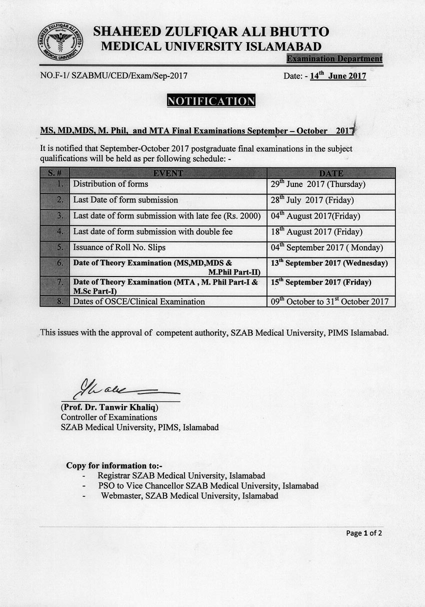 Notification for MS, MD, MDS, M.Phil & MTA Final Exams September - October 2017