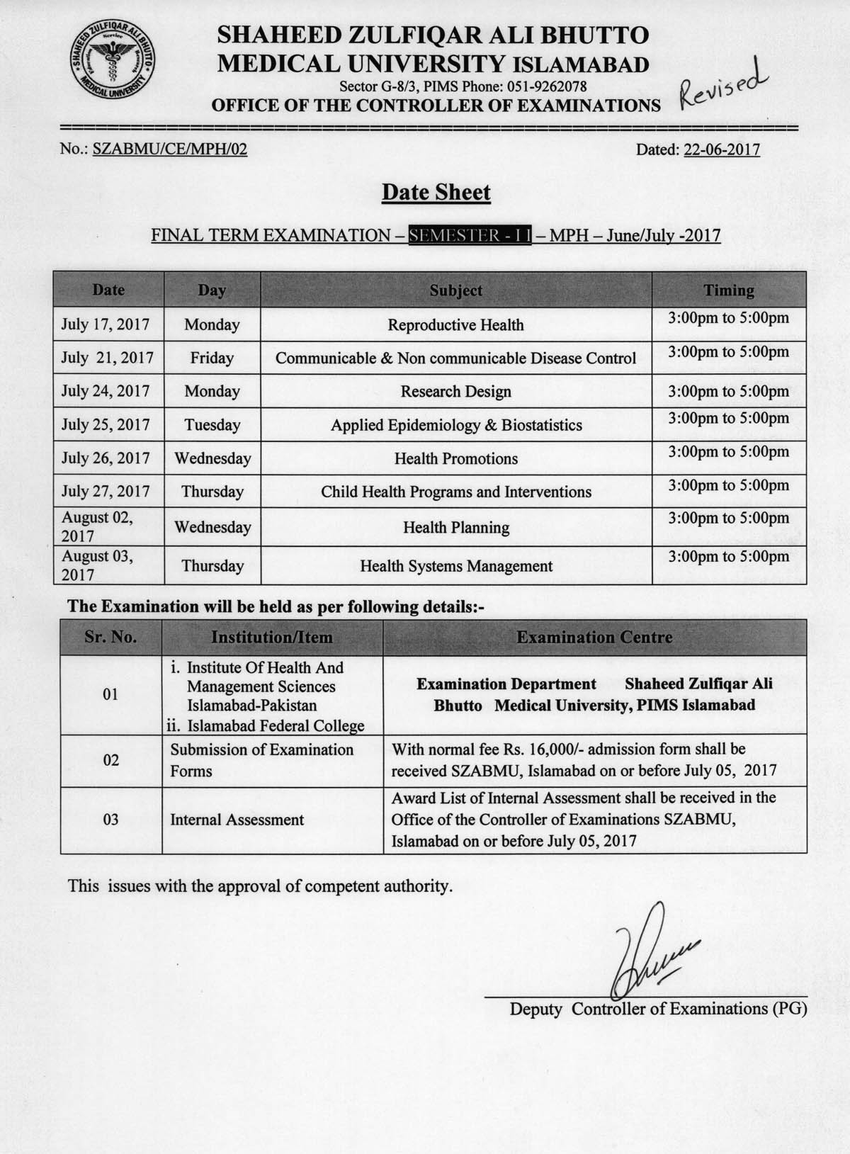 Revised Date Sheet - MPH Final Term Examinations