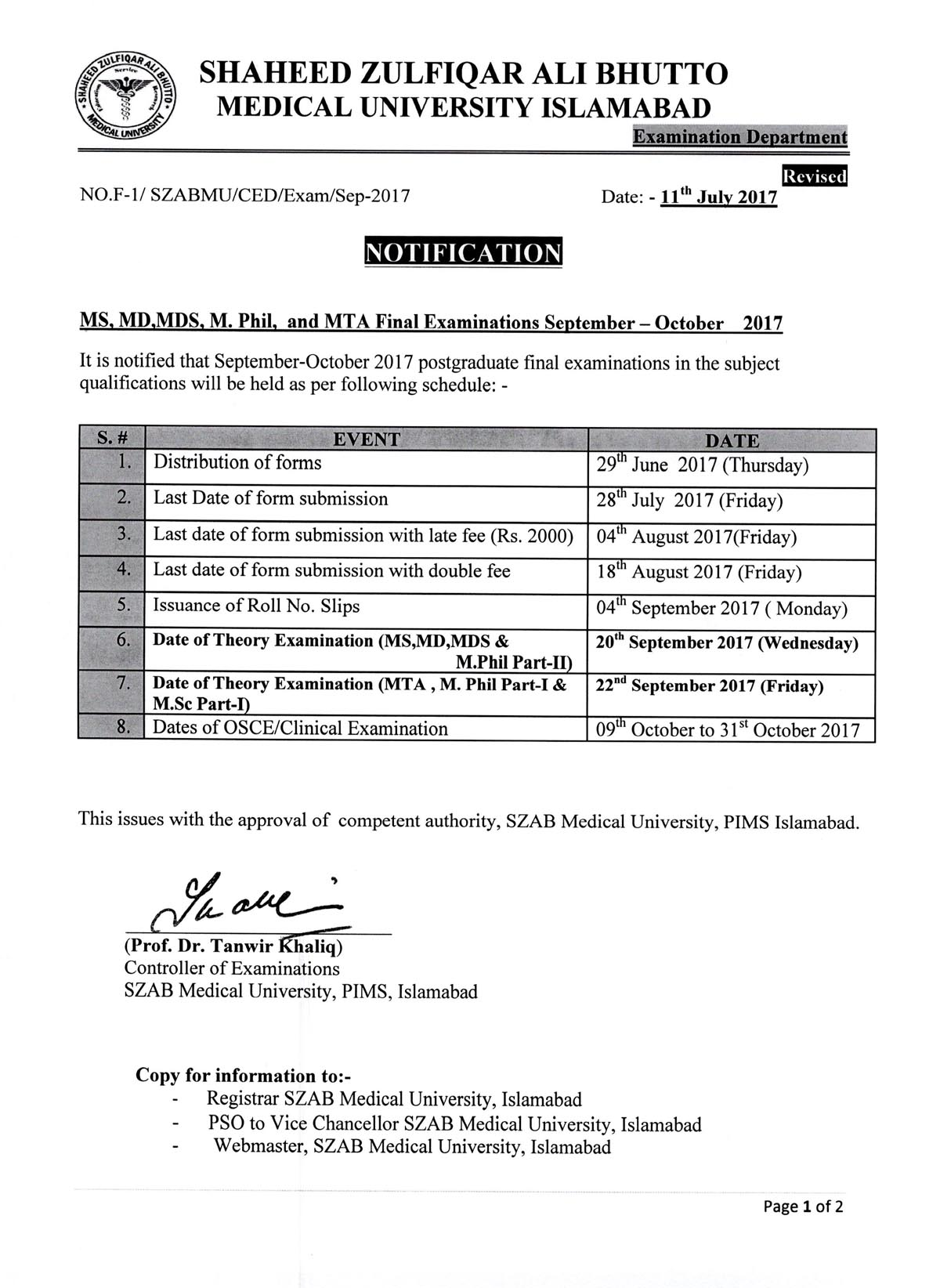 Revised Notification for MS, MD, MDS, M.Phil & MTA Final Exams September - October 2017