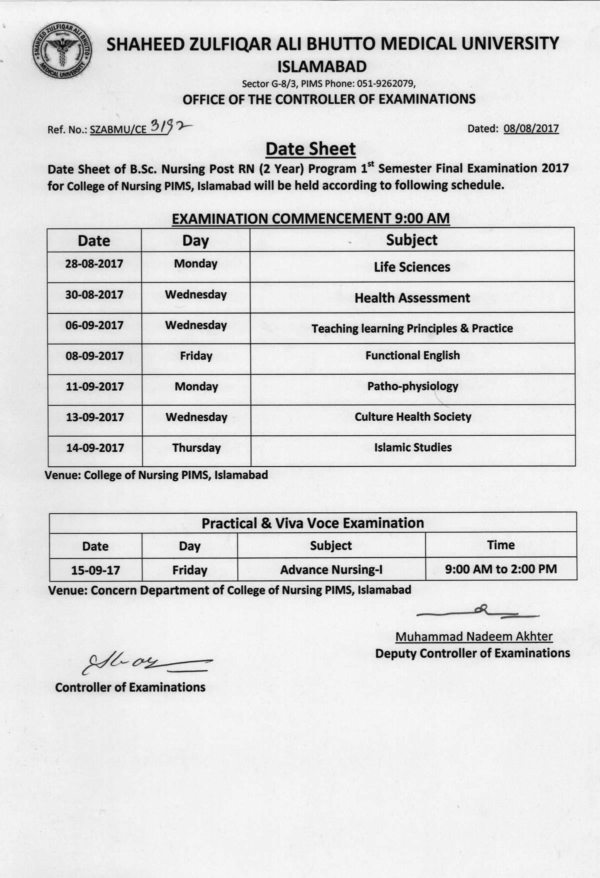 Date sheet - B.Sc. Nursing Post RN 1st Semester Final Exams 2017