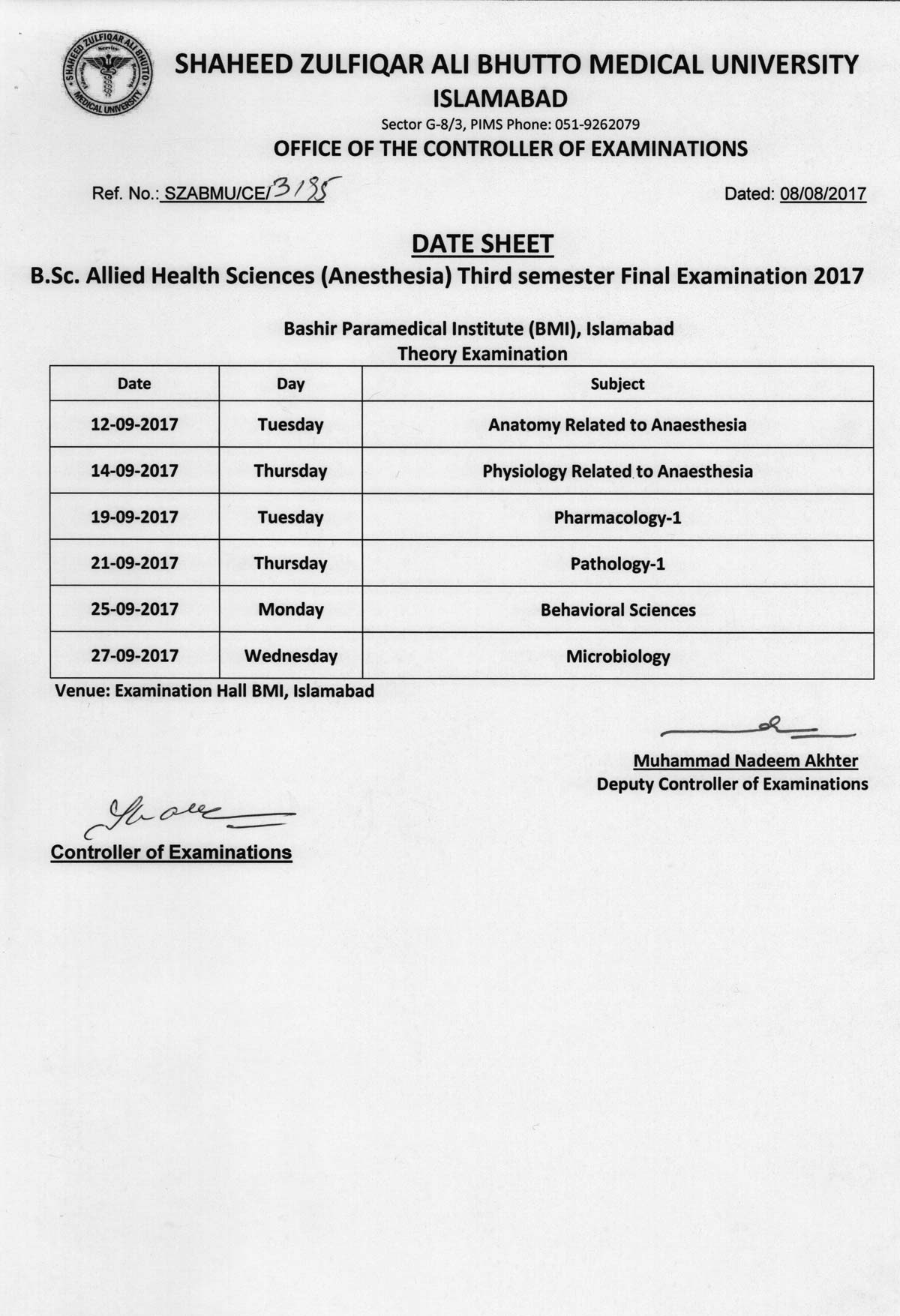 Date sheet - B.Sc. Allied Health Sciences Final Exams 2017