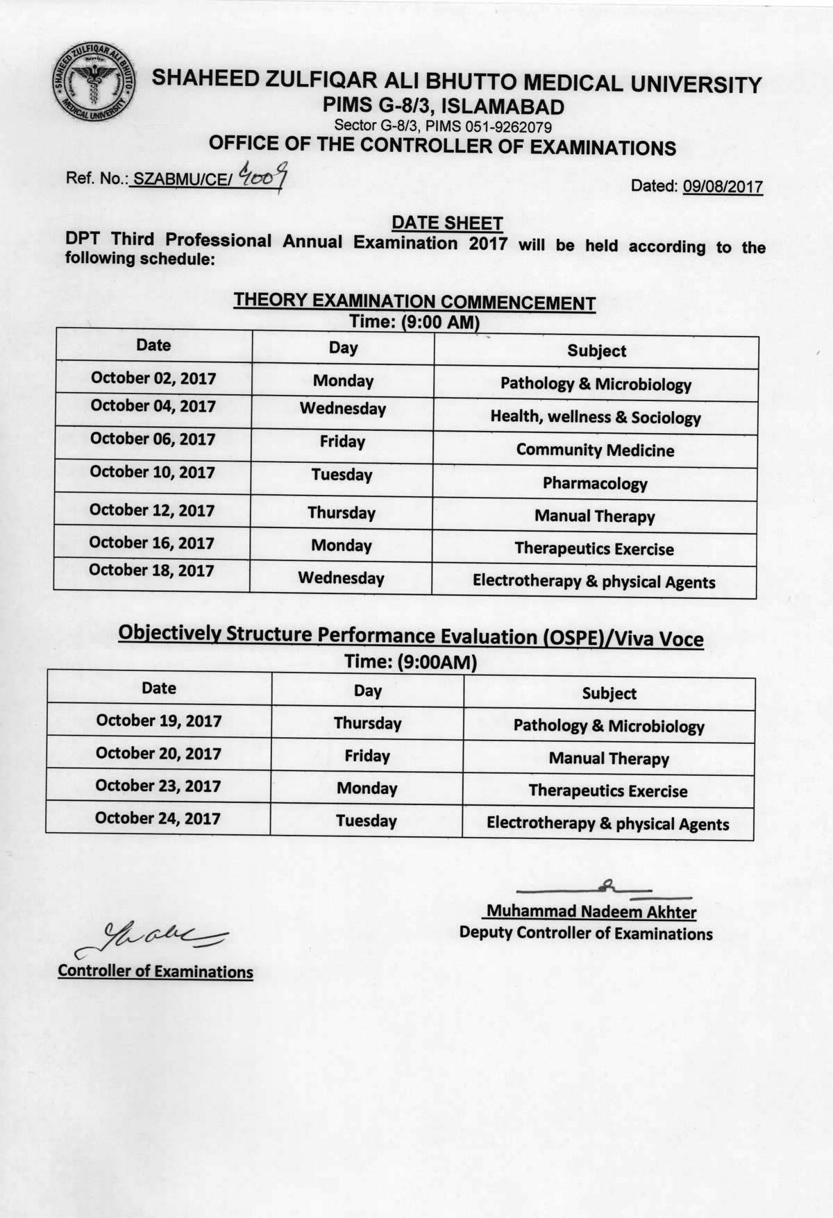 Date sheet - DPT Annual Examinations 2017