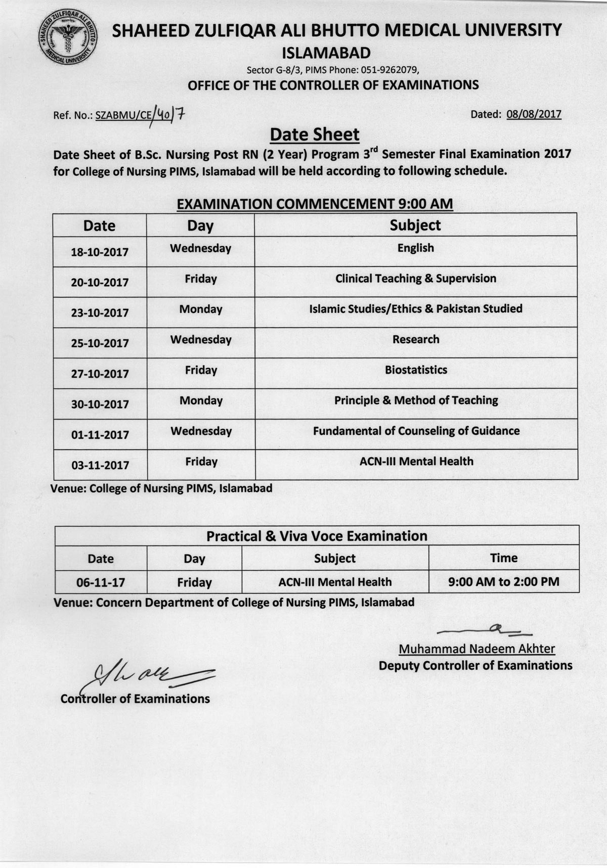 Date sheet - B.Sc. Nursing Post RN 3rd Semester Final Exams 2017