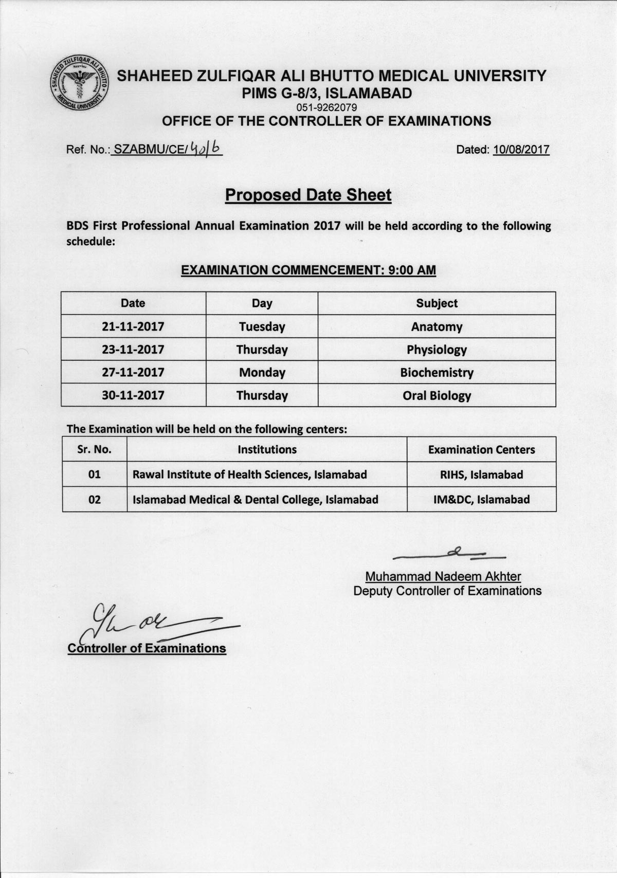 Date sheet - BDS Annual Examinations 2017