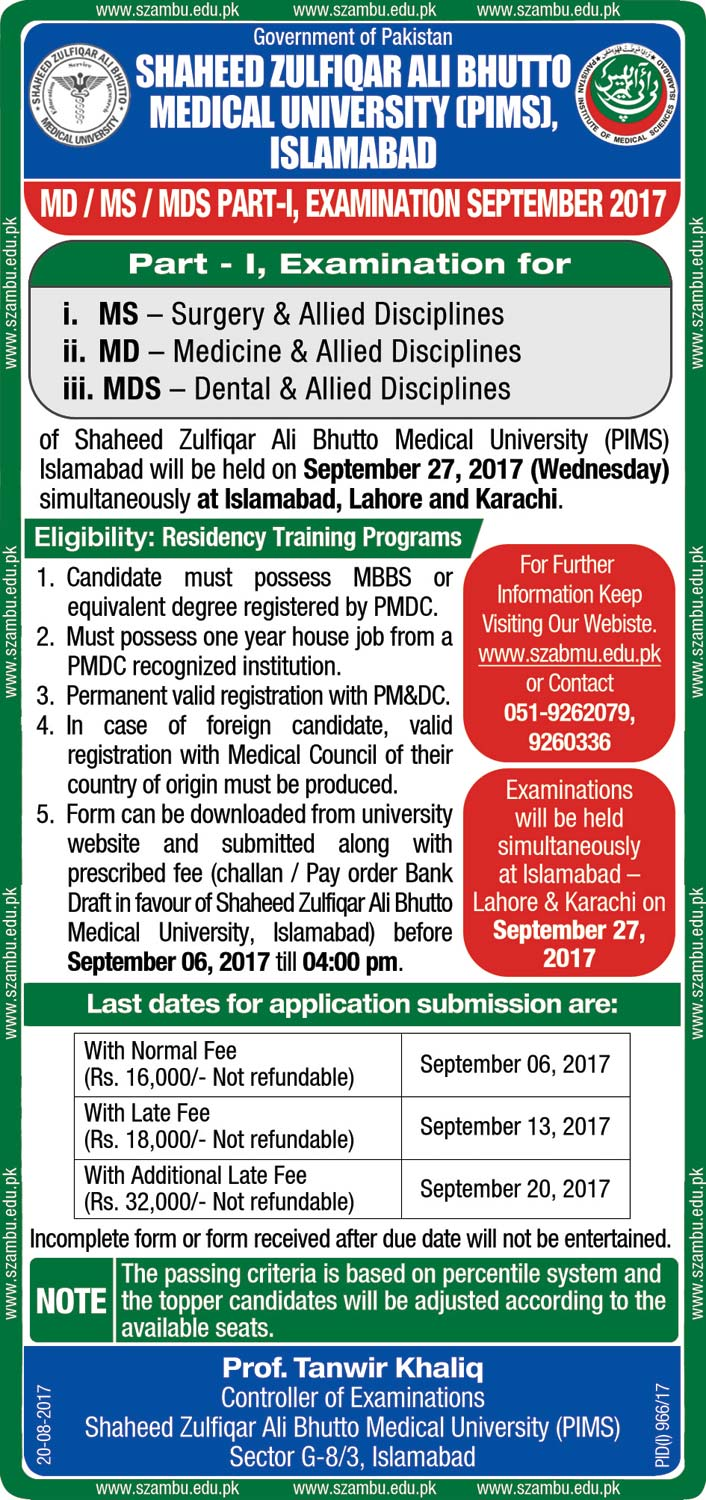 MD/MS/MDS Part I Examinations September 2017