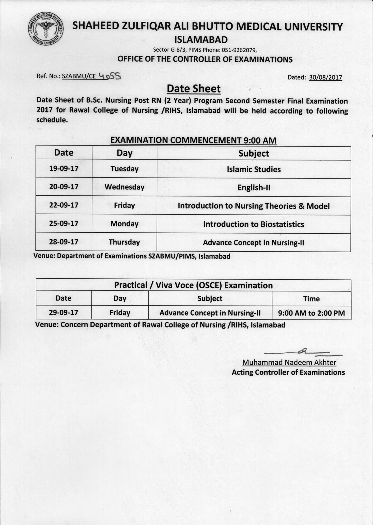 Date sheet - B.Sc. Nursing Post RN 2nd Semester Final Exams 2017