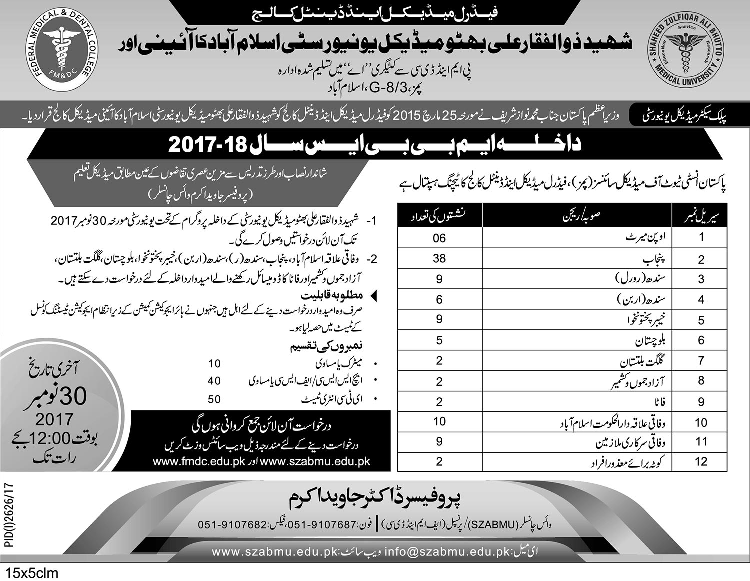 Admission Notice - MBBS Session 2017-2018