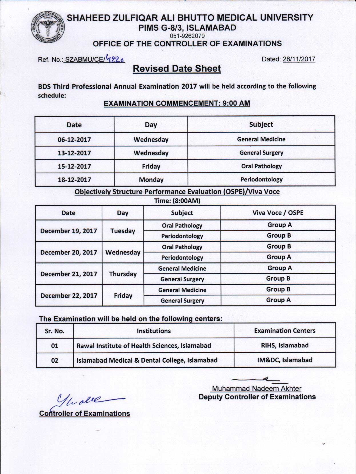 Revised Date Sheet - BDS All professional Viva Voce Examinations