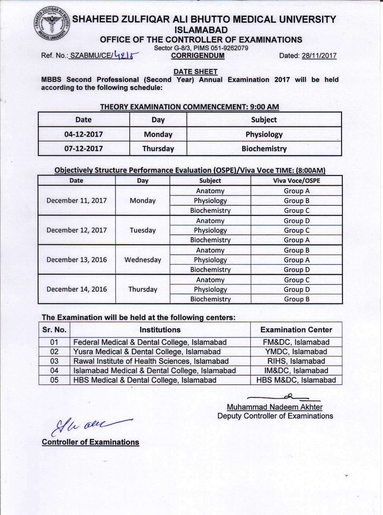 Revised Date Sheet - MBBS All professional Viva Voce Examinations