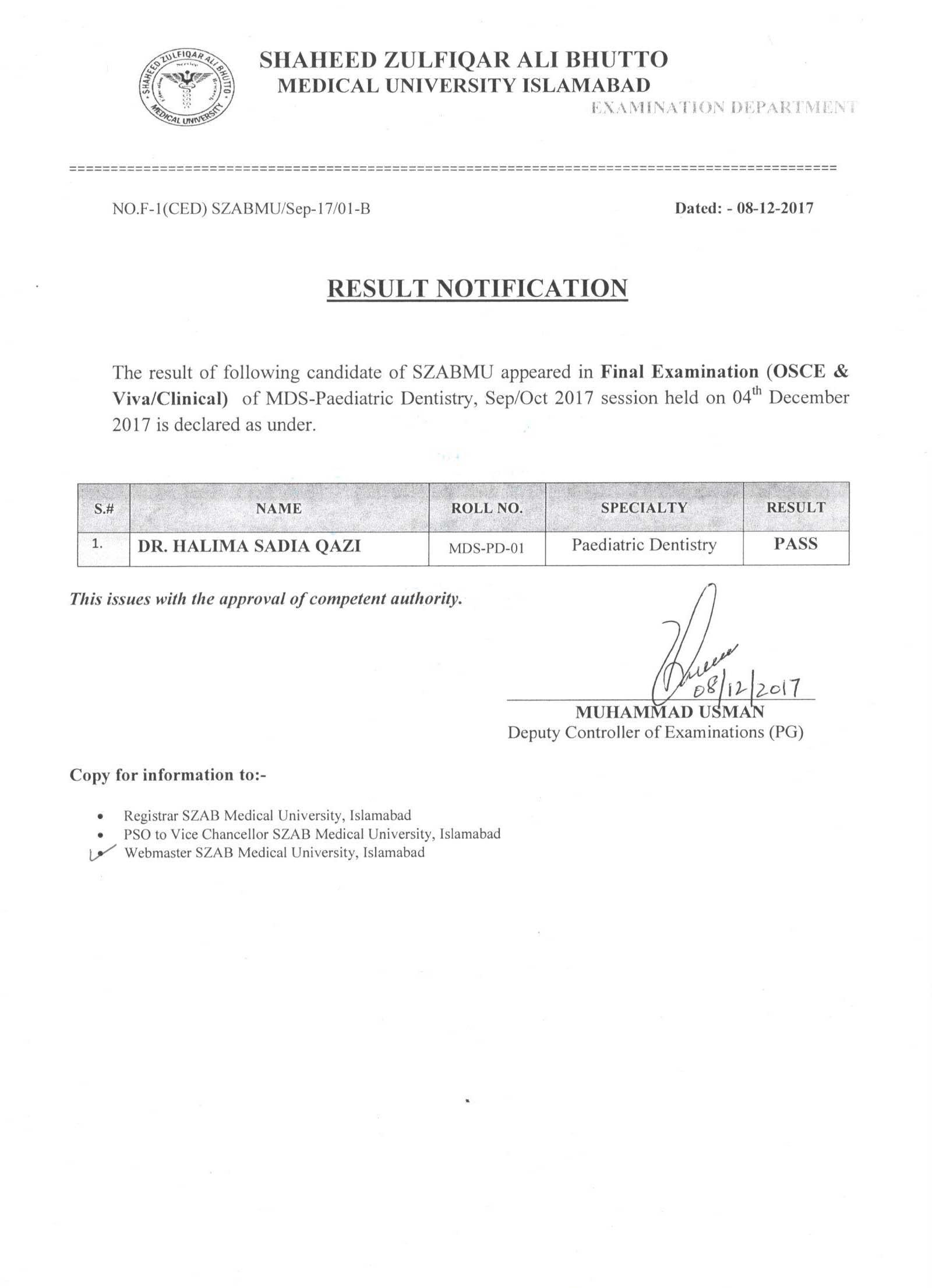 Result Notification - Final Examination (OSCE & Viva/Clinical)