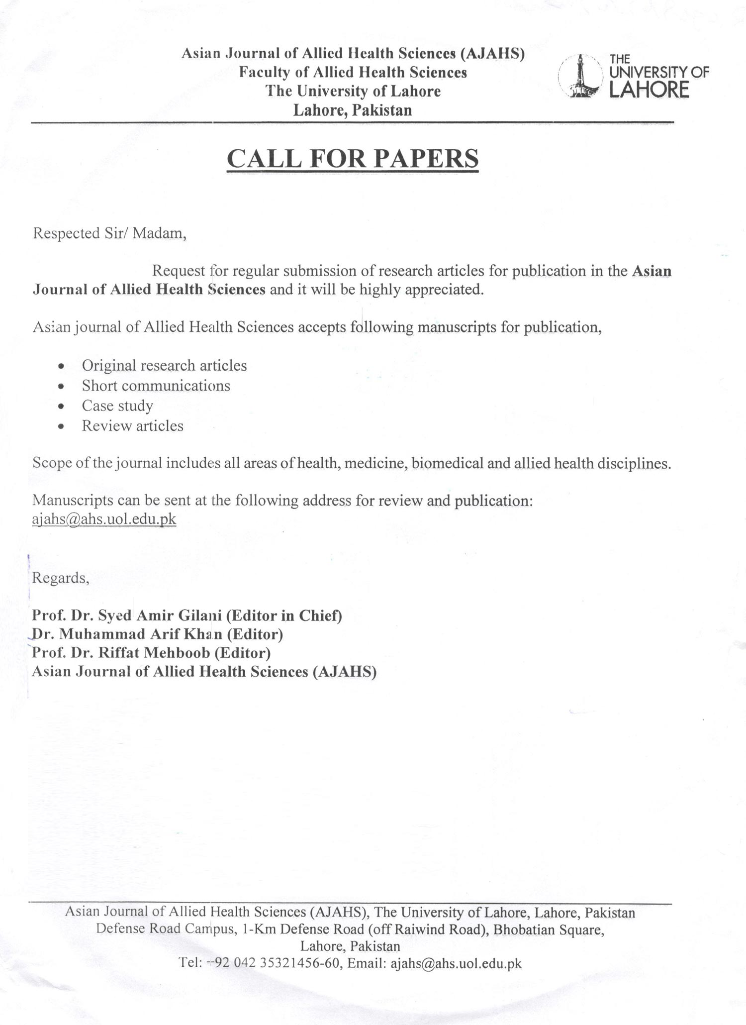 Call for Papers - Asian Journal of Allied Health Sciences