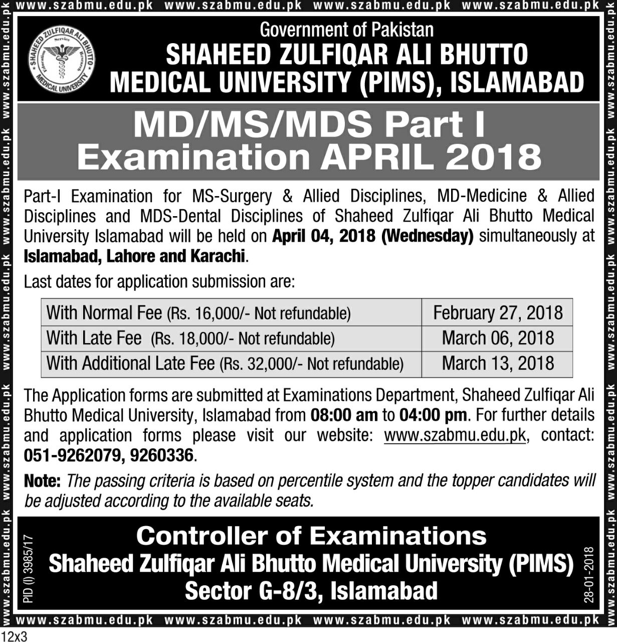MD/MS/MDS Part I Examination April 2018