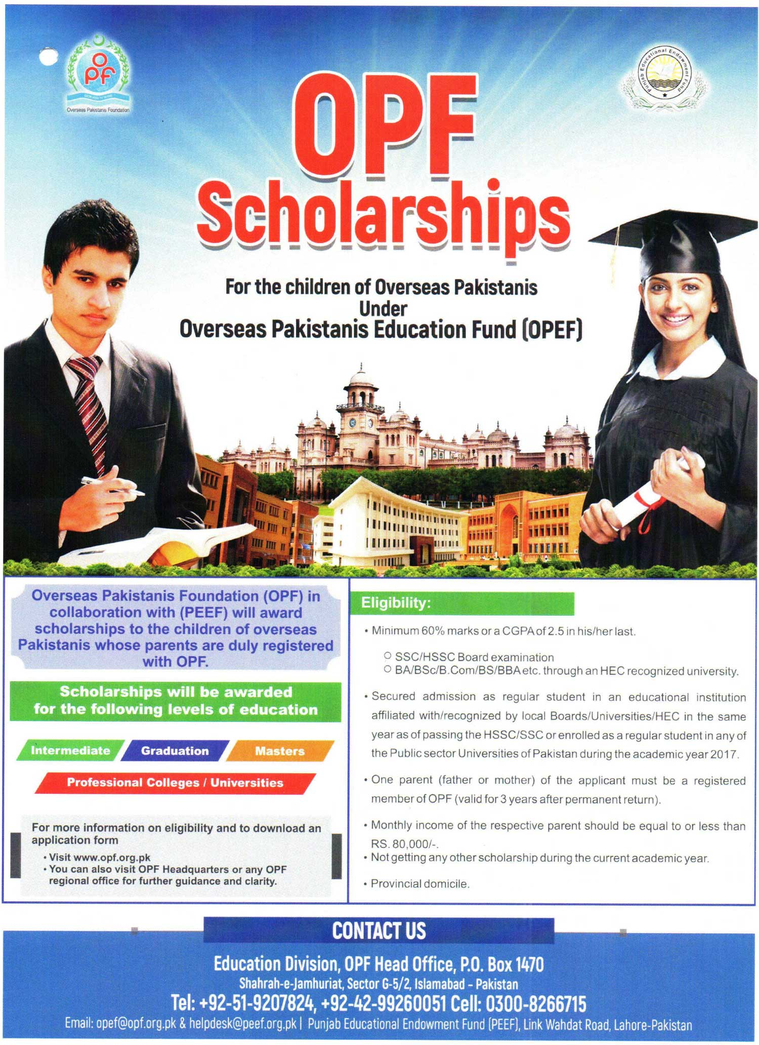 OPF Scholarships for the Children of Overseas Pakistanis Under Overseas Pakistanis Education Fund