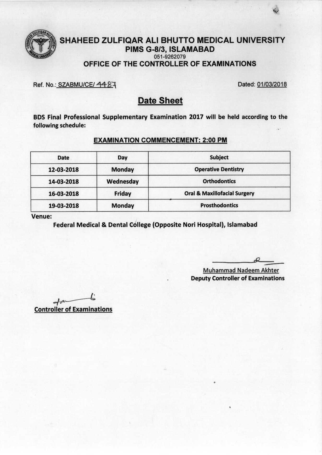 Date sheet - BDS All Professional Supplementary Exams 2017