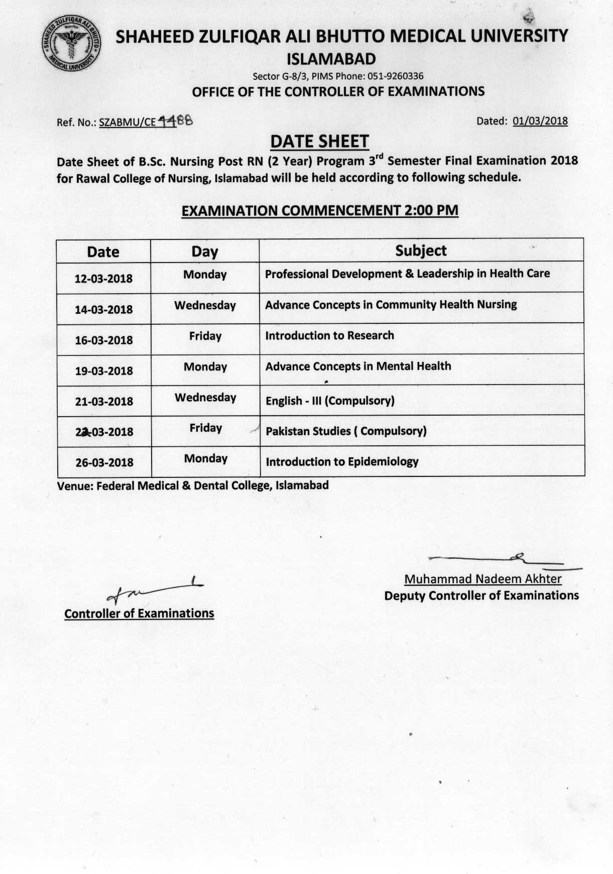 Date sheet - B.Sc. Nursing Post RN Third Semester Final Examination 2018