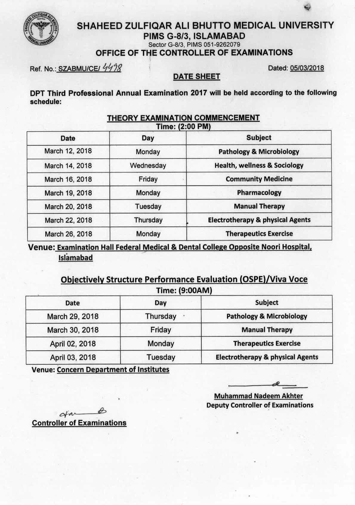 Date sheet - DPT Supplementary Examinations 2017