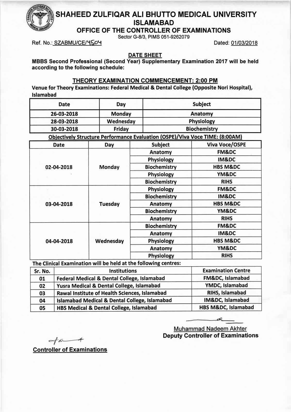 Date sheet - MBBS All Professional Supplementary Examinations 2017