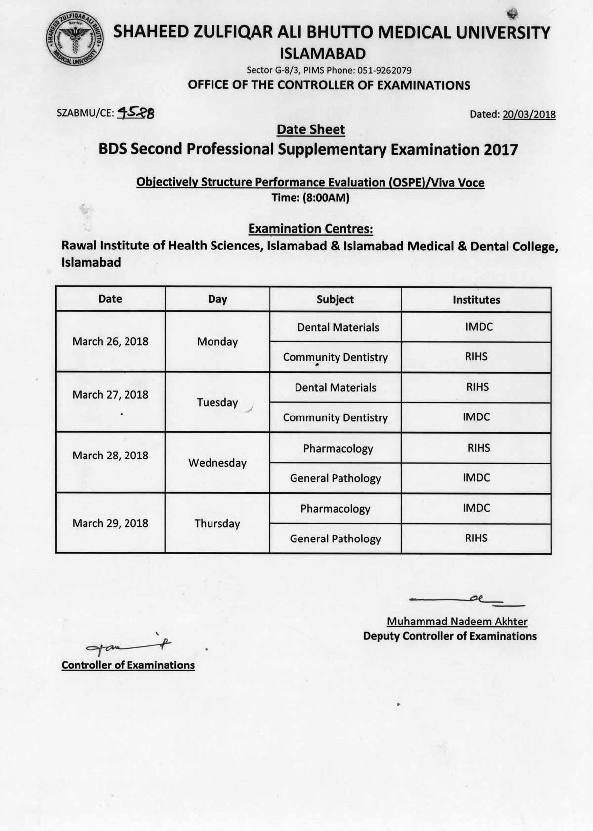 Date sheet - BDS All Professional Supplementary Examination 2017