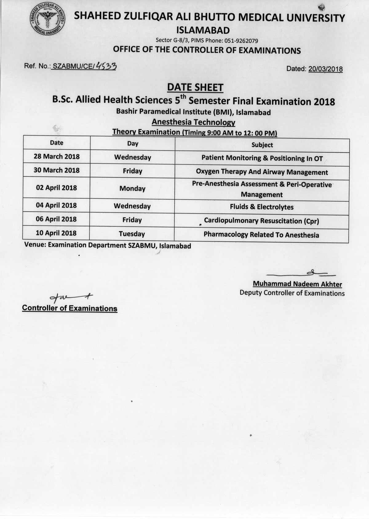 Date Sheet - BS Allied Health Sciences Final Examinations 2018
