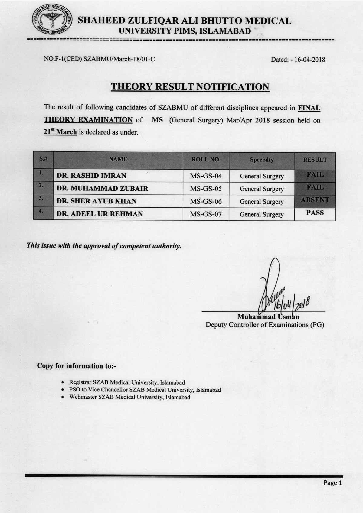 Result Notification of MS General Surgery Final Theory Examination