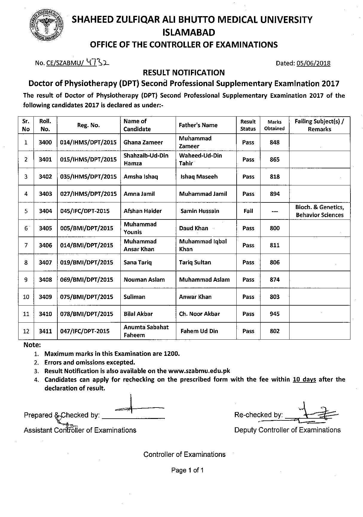 Result Notifications - DPT 2nd Professional Supplementary Exam 2017