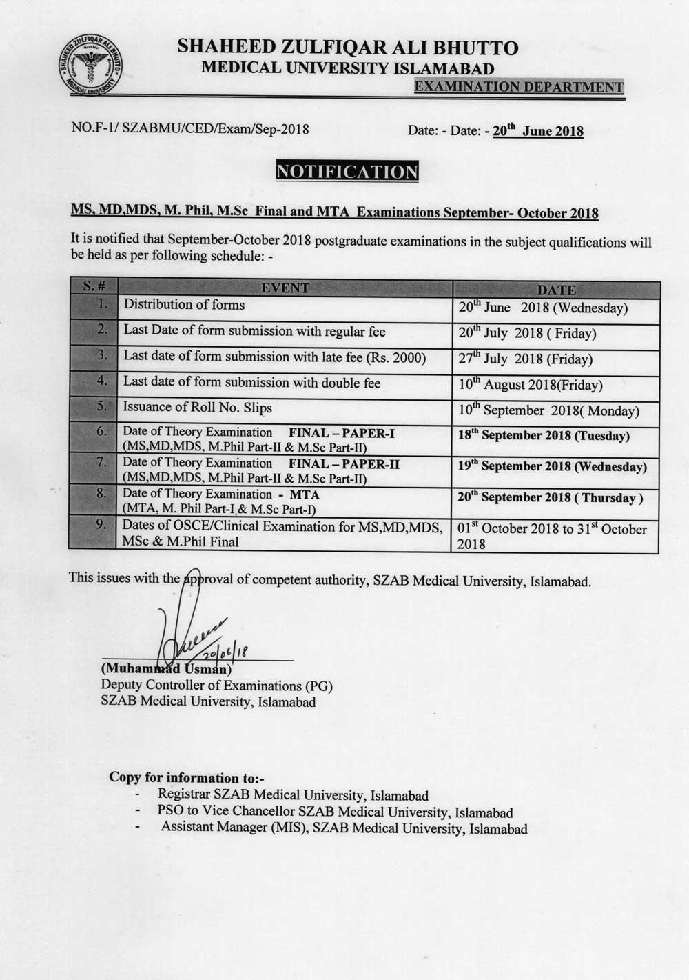 Notification - Sep/October 2018 Postgraduate Examination