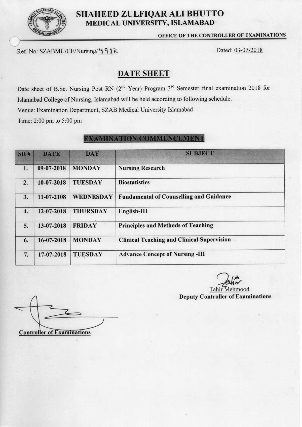 Date Sheet - B.Sc Nursing Post RN 3rd Semester for Islamabad College of Nursing