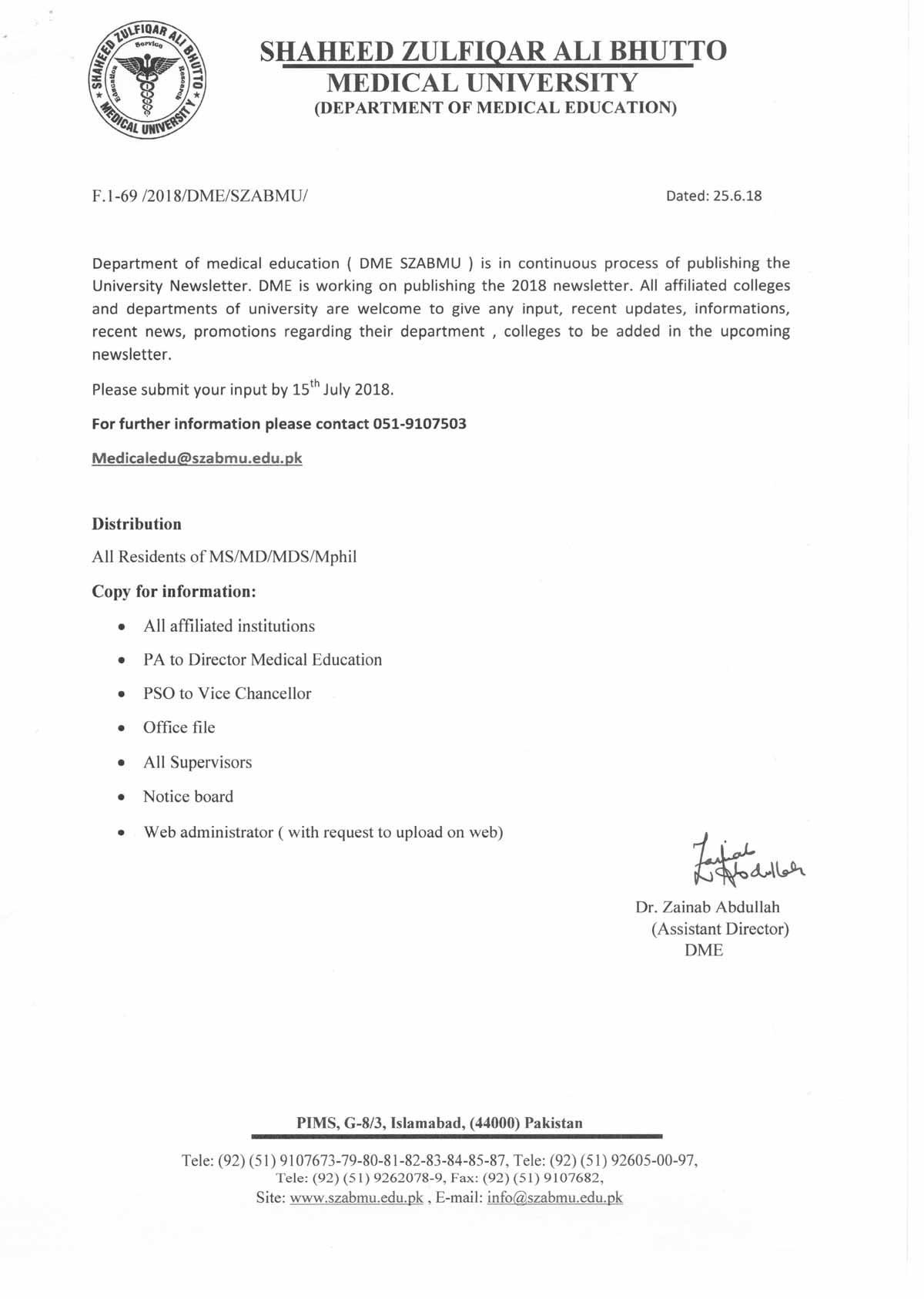 Publishing of University Newsletter