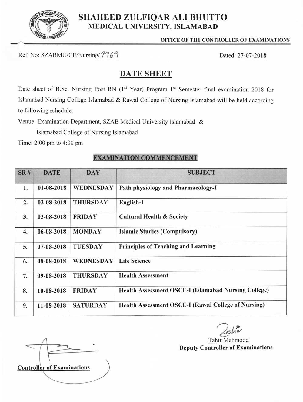 Date Sheet - B.Sc. Nursing Post RN 1st Semester Final Examinations 2018